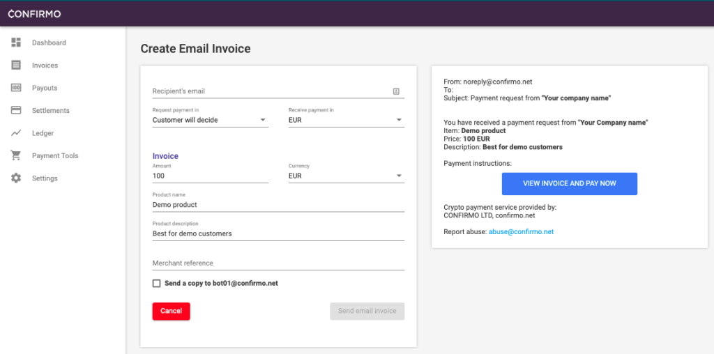 creating email invoice