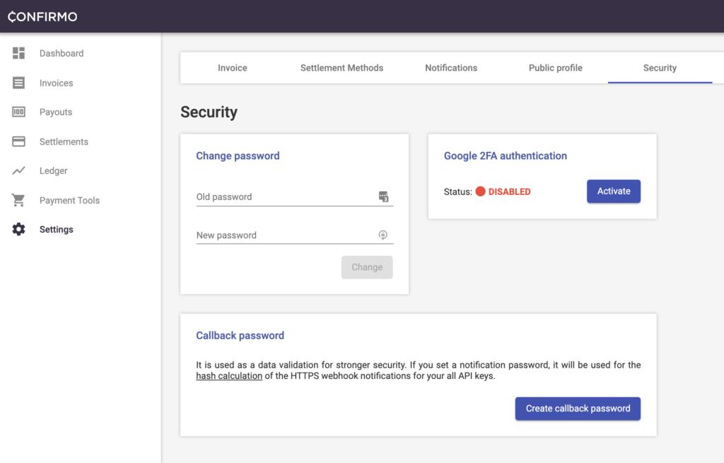 Security menu - Confirmo.net